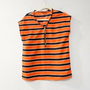 Michael Kors Blue Orange Striped Blouse